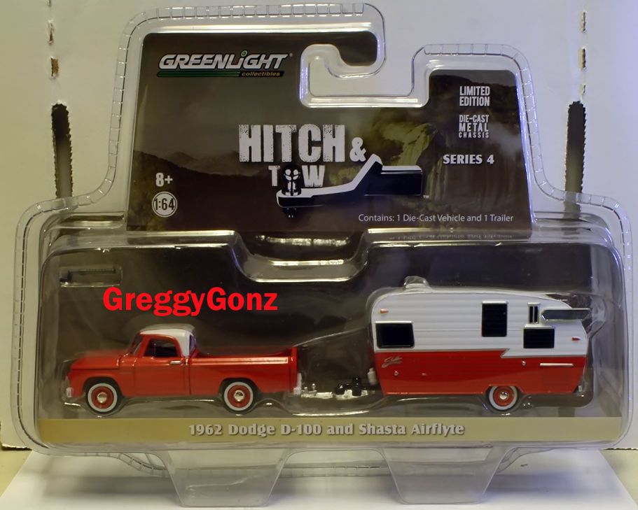 1:64 2015 Greenlight Hitch & Tow Series 4 1962 Dodge D-100 & Shasta Airflyte #Greenlight #Chevrolet