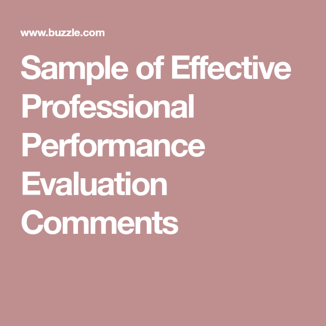 Of Effective Professional Performance Evaluation Comments