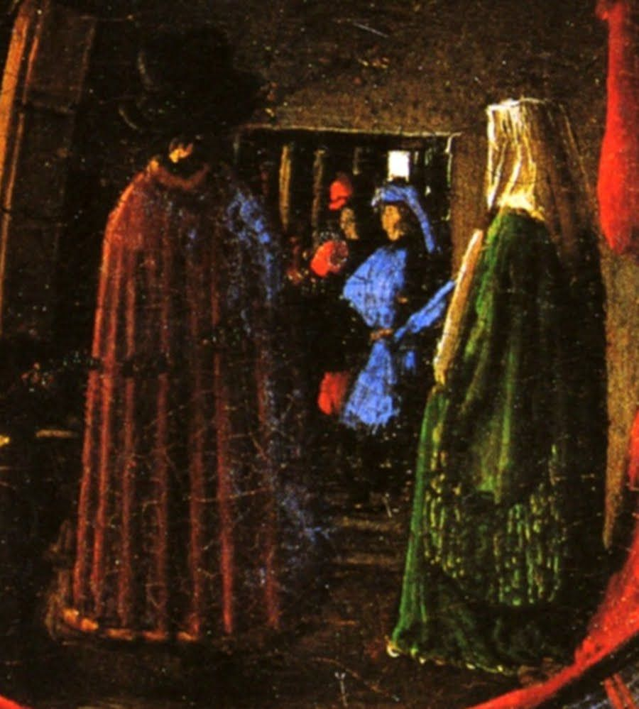 """arnolfini and his bride Jan van eyck, """"the arnolfini portrait,"""" 1434, oil on oak, 323 x 2362 in, national gallery, london – detail of arnolfini's face this is definitely an individual with cleft chin, a defined cheekbone, and interesting nose with what may even be a nose hair."""