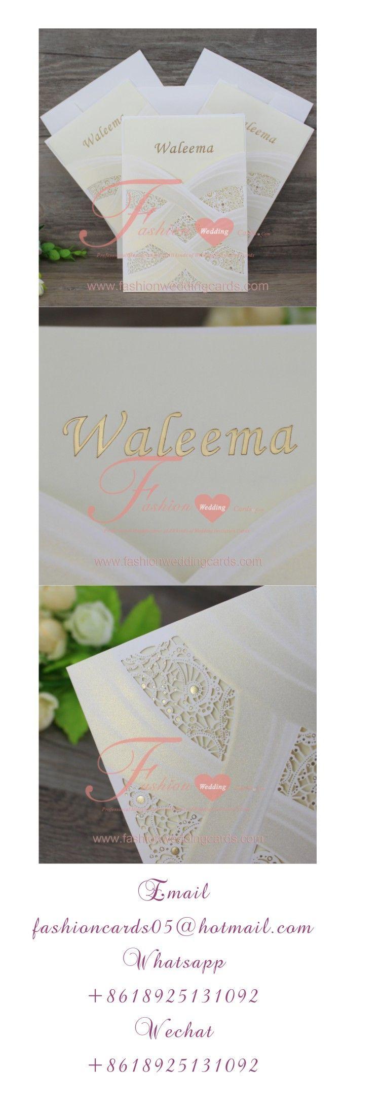 Pocket Style White Wedding Invitations Laser Cut CW060 ...