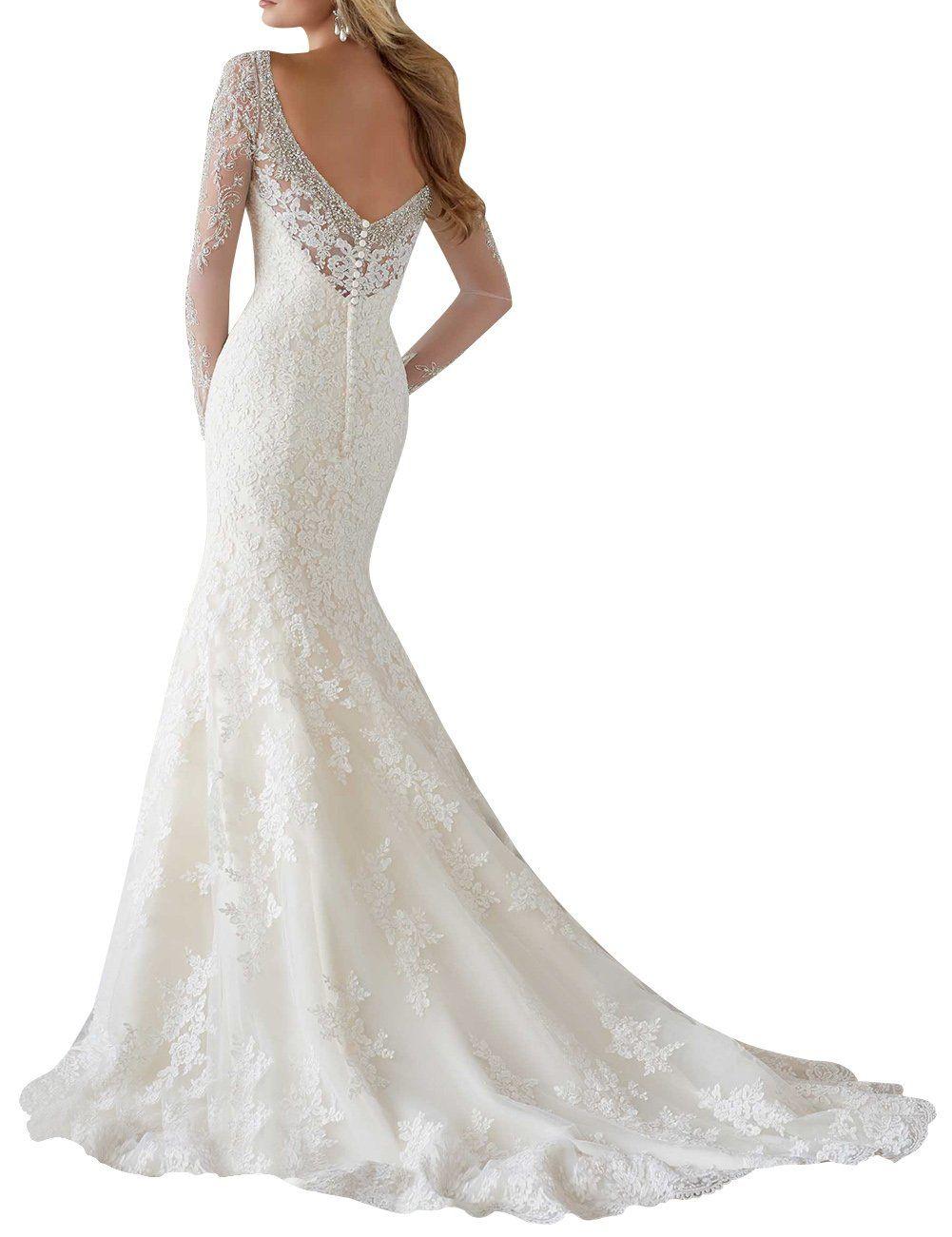 39c55ac528c0 Dapene Womens VNeck Long Sleeve Low Back Train Wedding Dress White US 2 >>>