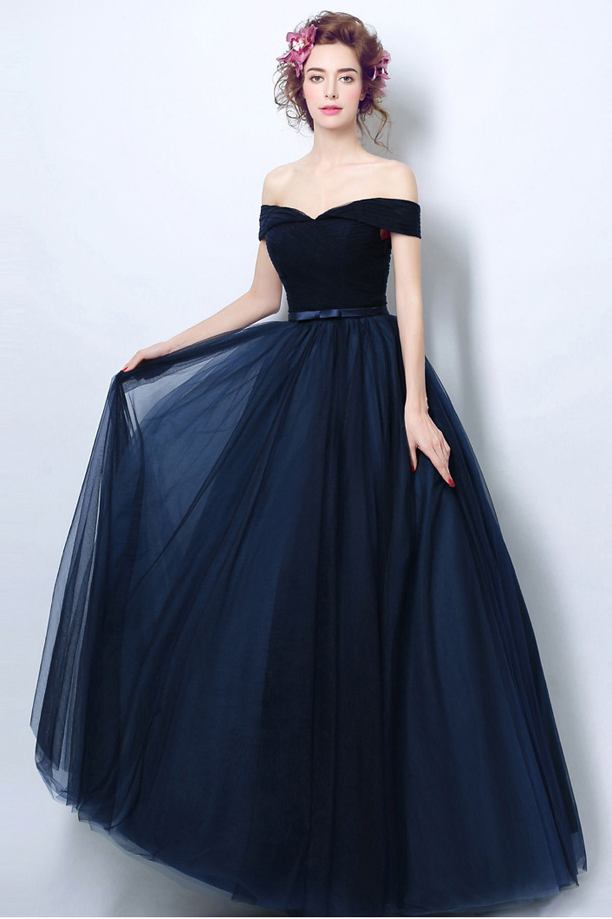 c615e73086 Cheap navy blue tulle off shoulder prom dress