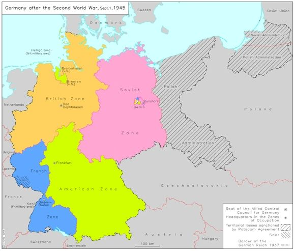Germany After The Second World War September This Map - Germany map in world map