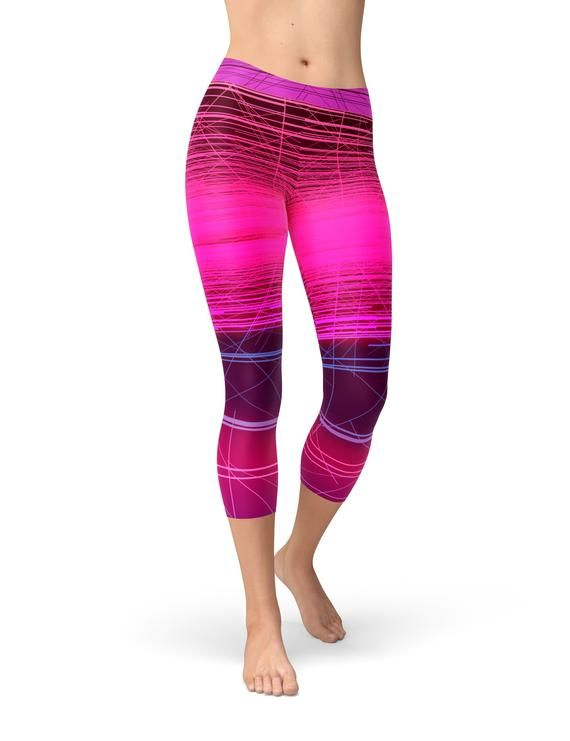 d13b1324c66 Hot Pink Striped Workout Leggings for Women