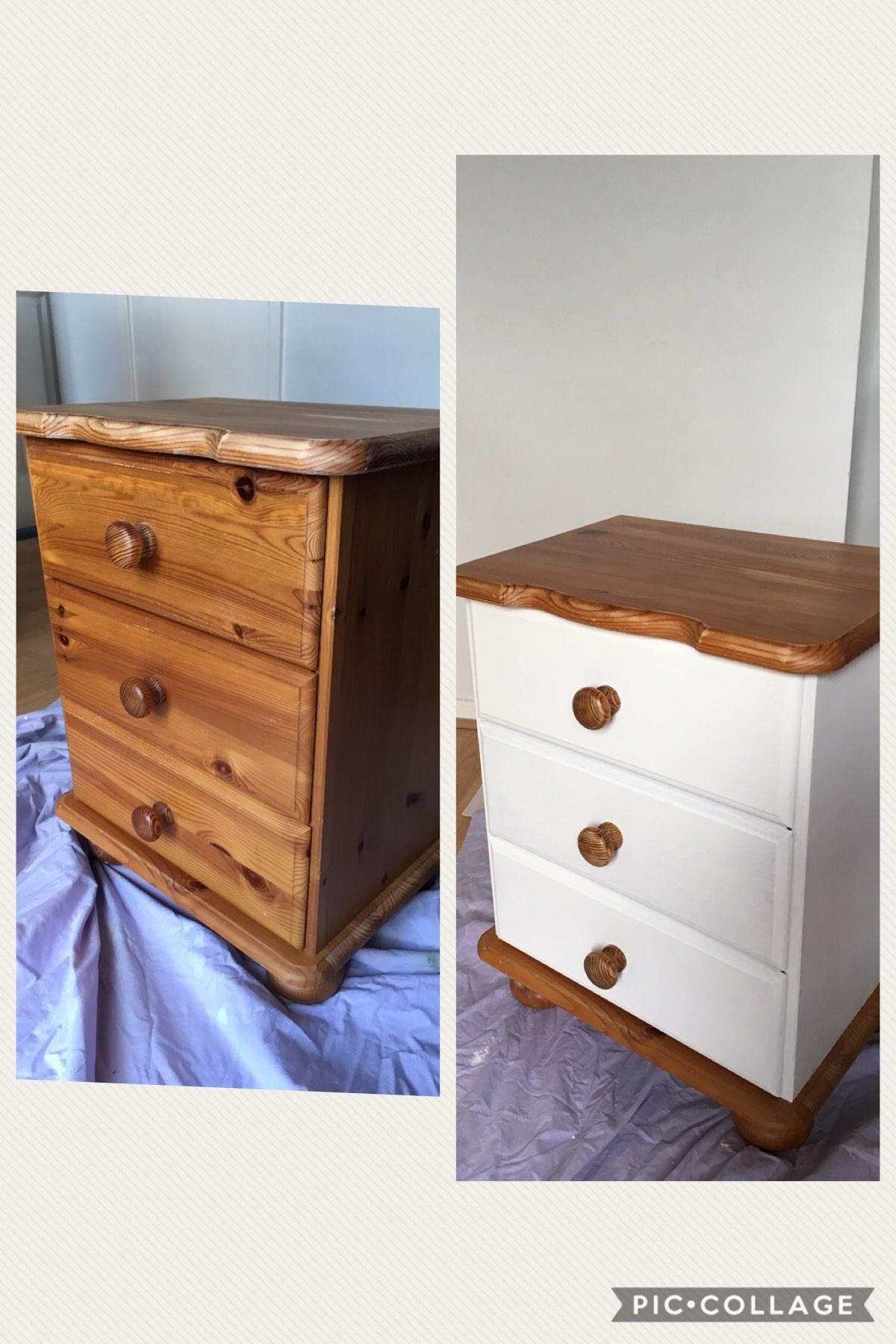 Delightful Used Rustoleum Chalky Finish Furniture Paint To Upcycle Old Pine Bedside  Unit.