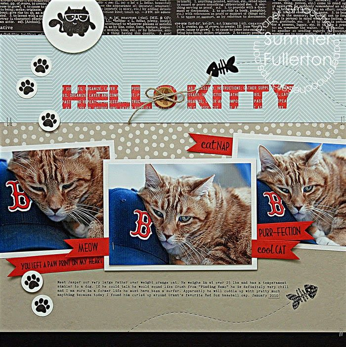 #papercraft #Scrapbook #layout.  by PS DT Summer Fullerton using PS Feline Friends, Charmed Cat, Cat Icons