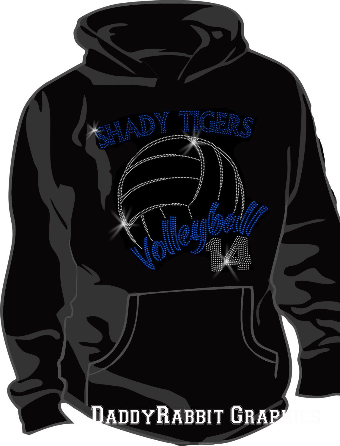 Volleyball Bling Hoodie With Bling Name And Number By Daddyrabbitgraphics On Etsy Https Www Etsy Com Listi Volleyball Shirt Designs Hoodies Volleyball Shirts