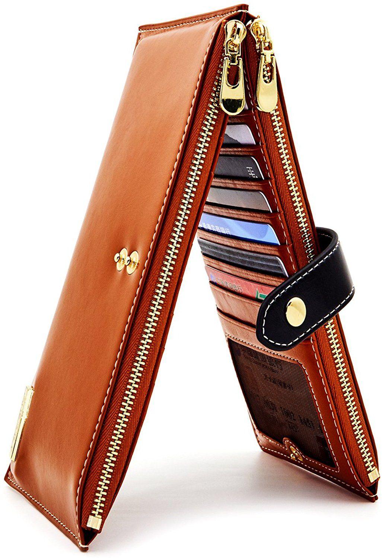 Andoilt womens genuine leather wallet rfid blocking