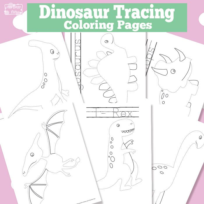 Dinosaur Tracing Coloring Pages - Free Printable | Imprimir gratis ...