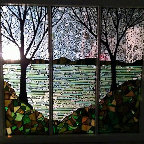lakeside stained glass mosaic window by groovysquid glass art