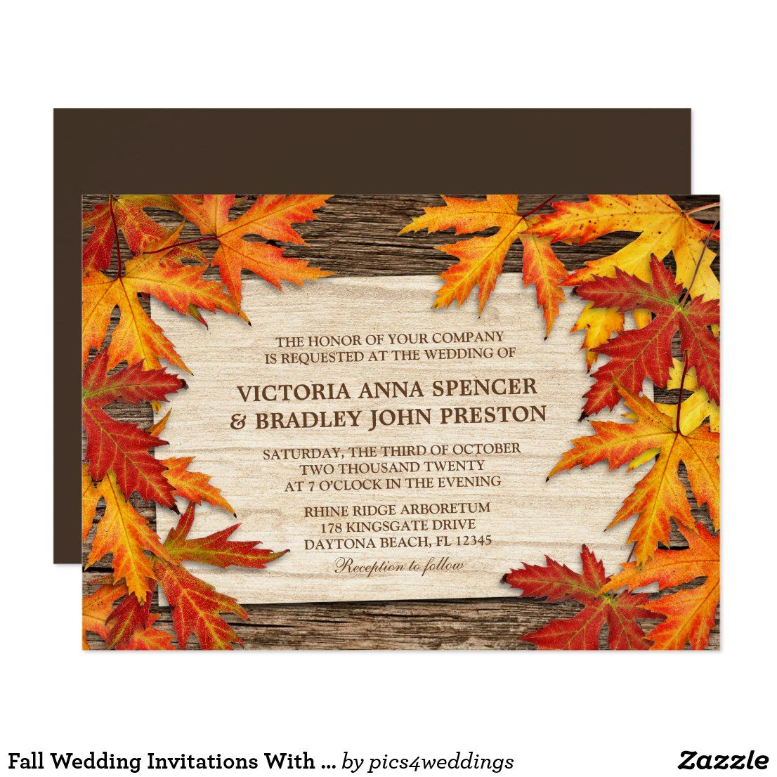 Fall Wedding Invitations With Autumn Leaves Zazzle Com In 2020 Fall Wedding Invitations Thanksgiving Dinner Invitation Autumn Wedding Reception