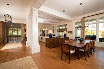 Open Concept Dining Room Living Room With Pillars Design Pictures