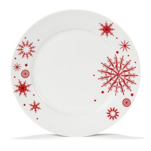 Assiette A Dessert Blanche Avec Decor De Noel Rouge Vaisselle