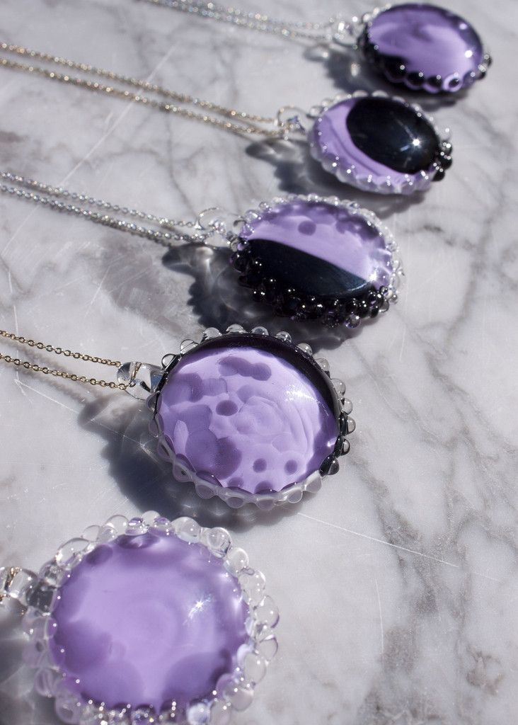 Moon phase necklaces // Glass