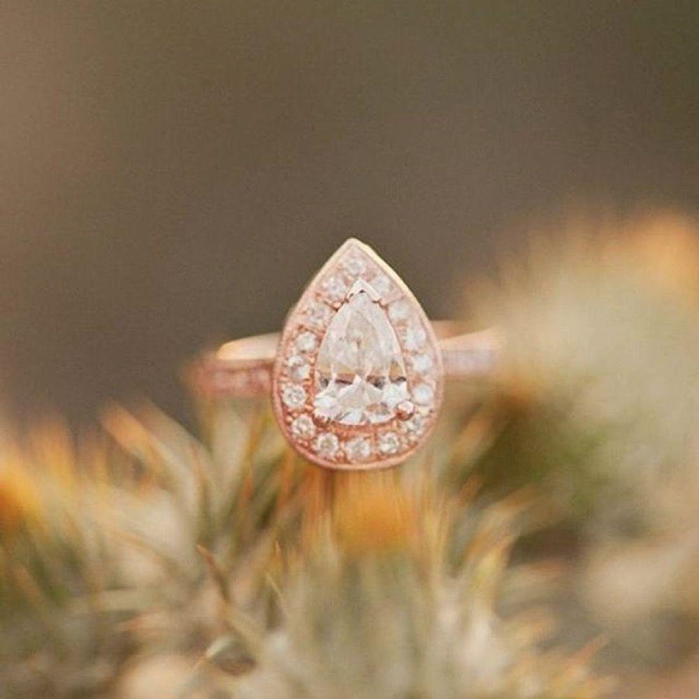 Pear diamond engagement ring halo pave rose gold setting photo