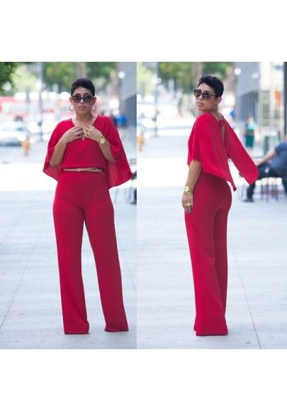 9da46c3fdde1 Red Plain Cloak Irregular Tie Back Half Sleeve Slim Fashion Long Jumpsuit