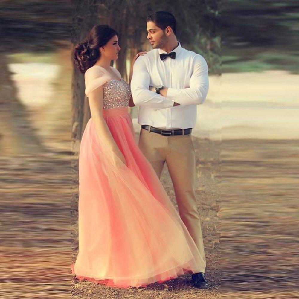 Romantic crystal peach color ball gowns shiny stone organza elegant
