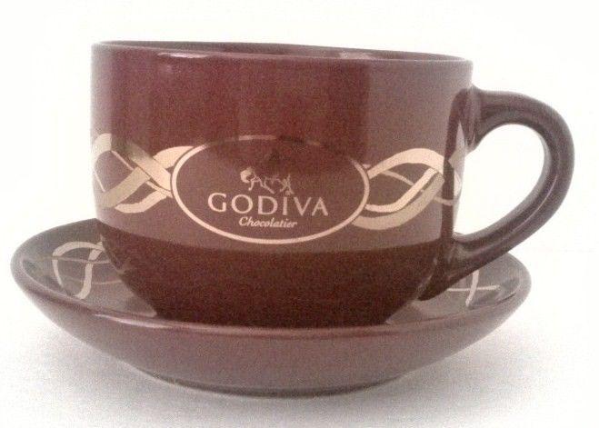 Godiva Chocolatier Large Brown Coffee Mug Cup and Saucer California ...