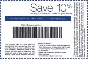 photo regarding Lowes 10% Printable Coupon known as Lowes Discount coupons: Printable Lowes 10% off coupon codes House in just