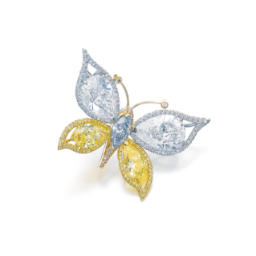 Attractive fancy coloured diamond brooch