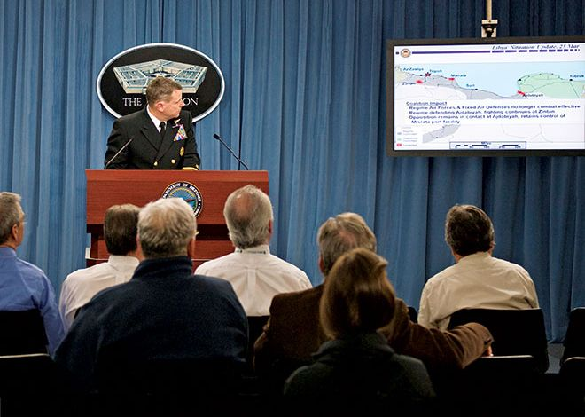 Former Director of Joint Chiefs of Staff conducts news briefing about situation in Libya DOD (Cherie Cullen)