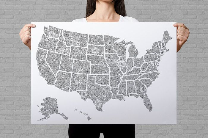 USA map poster, giant coloring page, USA travel map, sales map, USA ...