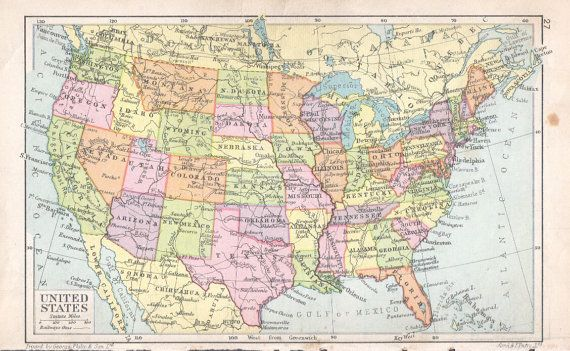 1932 US map UNITED STATES vintage map world travel, map decor ...