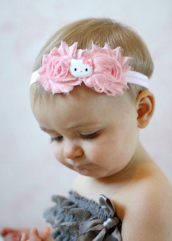 Kitty shabby Headband Baby Headband Shabby Headband Toddler Girl Hello Kitty  Inspired Pink on Etsy fafb7946f39