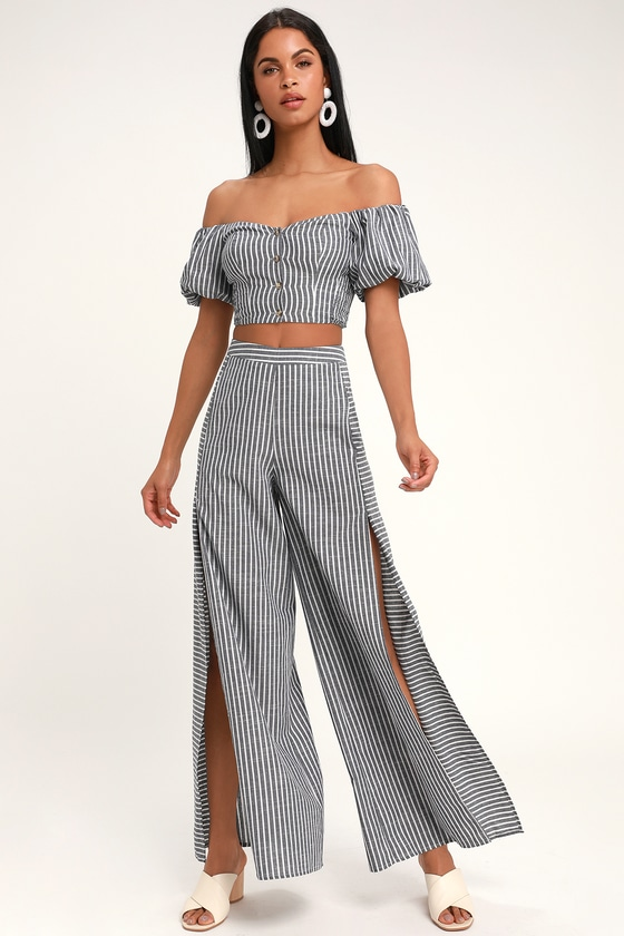 ab13f336a4 Bellport Blue and White Striped Wide-Leg Two-Piece Jumpsuit in 2019 ...