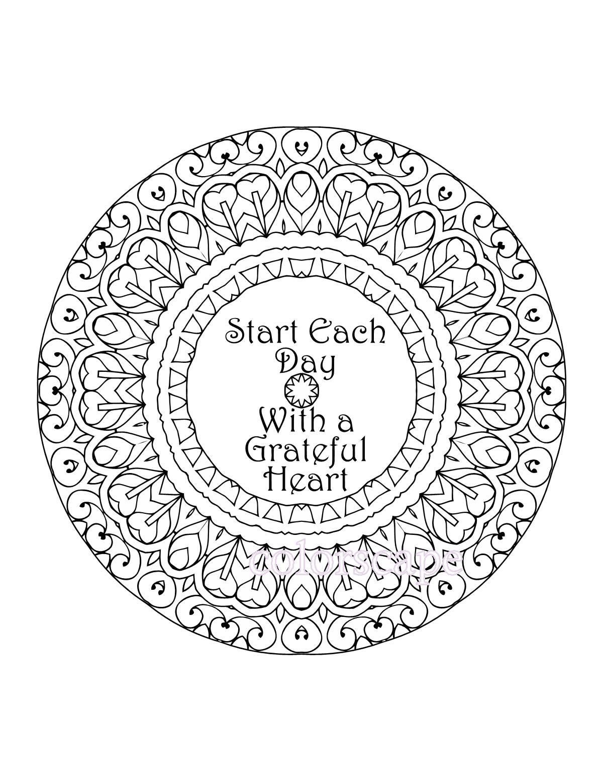 Inspirational coloring pages printable - Inspirational Coloring Page Printable Grateful Heart Inspirational Quote Mandala Digital Download