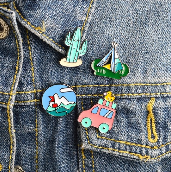 f8e3931a3db Cartoon Summer Mountaineering Cactus Car Tent Kids Lapel Pin Badge Corsage  Shirt Collar Metal Brooch