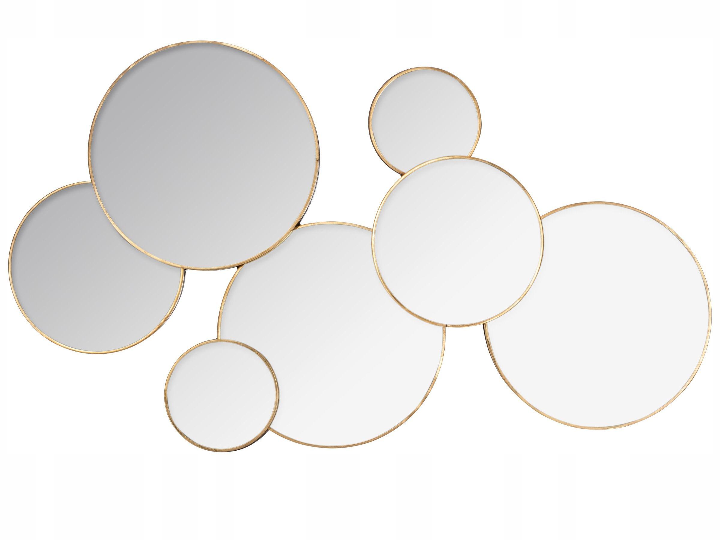 Lustro Dekoracyjne Okrągłe ścienne Złota Ramka Salon Stoki