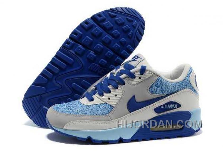 Nike Air Max 90 Womens Blue Grey White Top Deals RMmH5 in