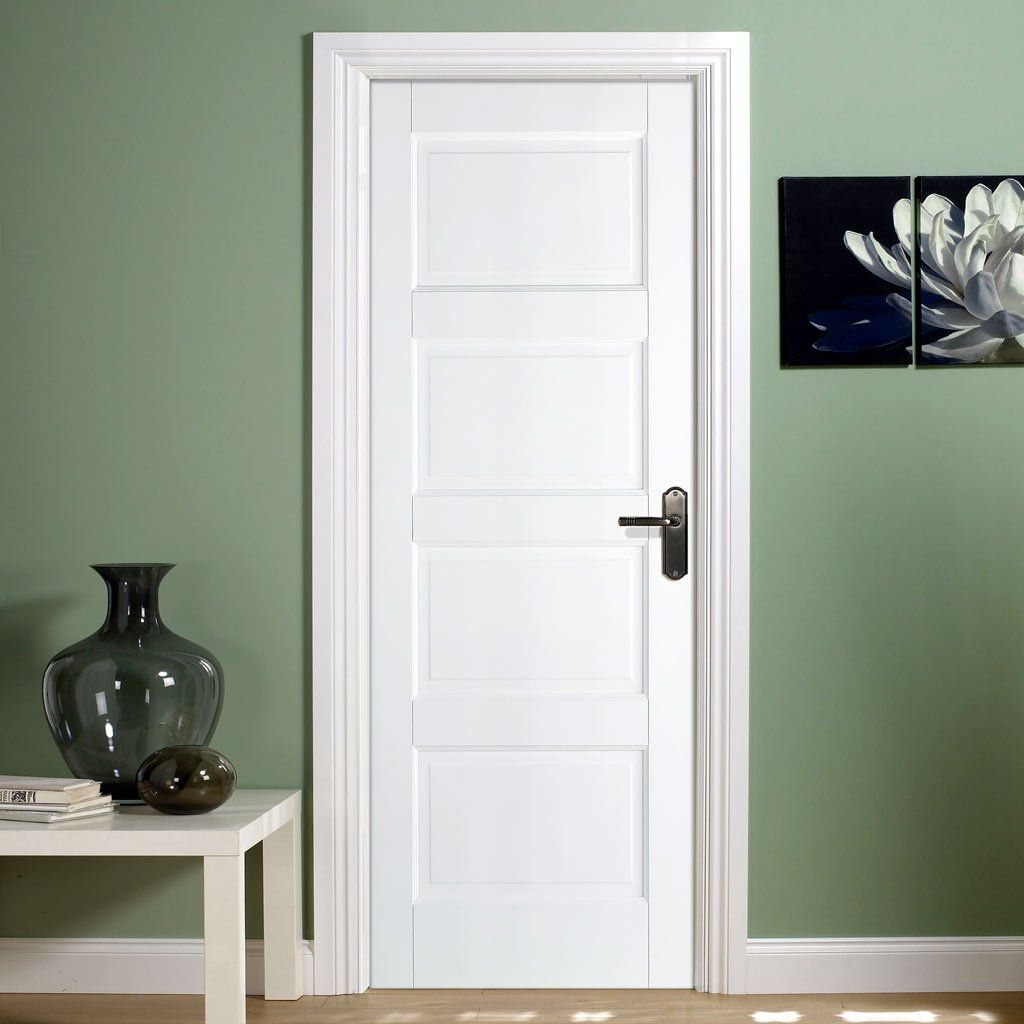 Contemporary 4p White Solid Door Solid Doors Doors And Contemporary