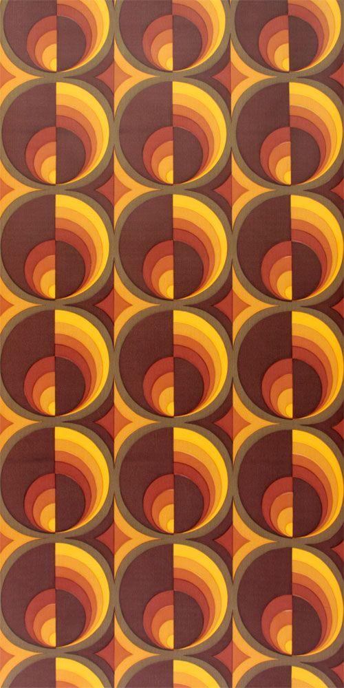 Original Vintage Wallpaper In Brown And Orange Www Vintage Tapeten