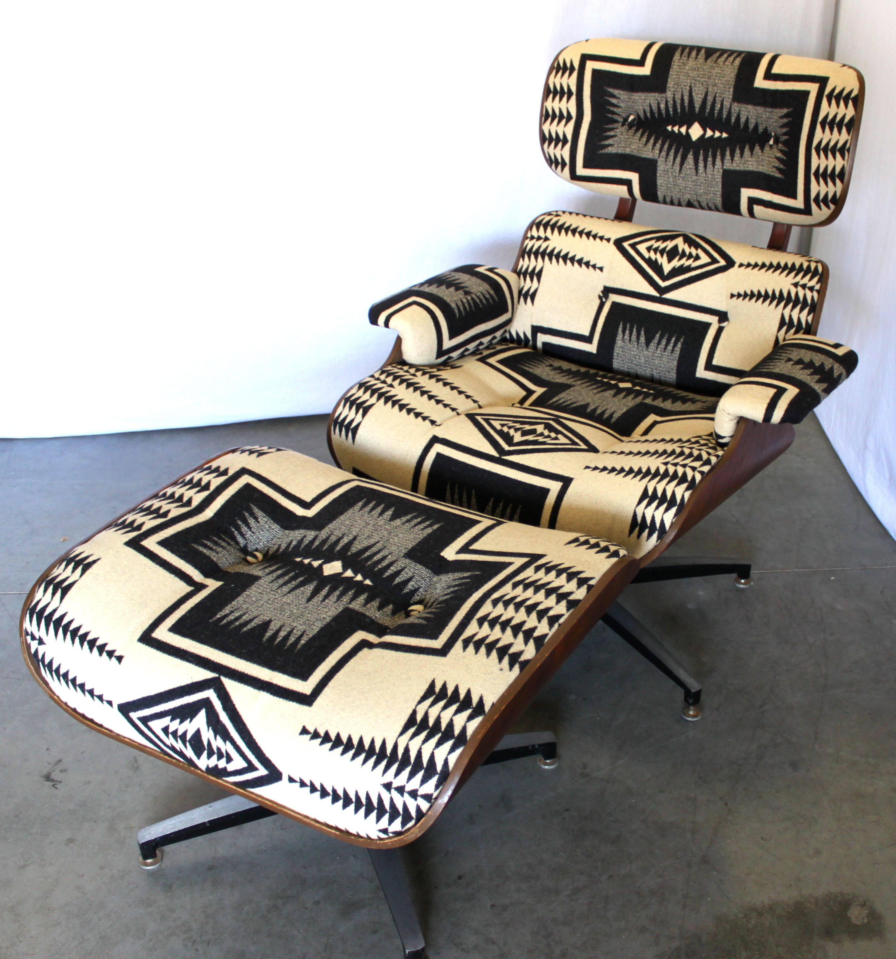 Mid Century Eames Style Recliner With Pendleton Portland Collection  Upholstery At MODERNHAUS