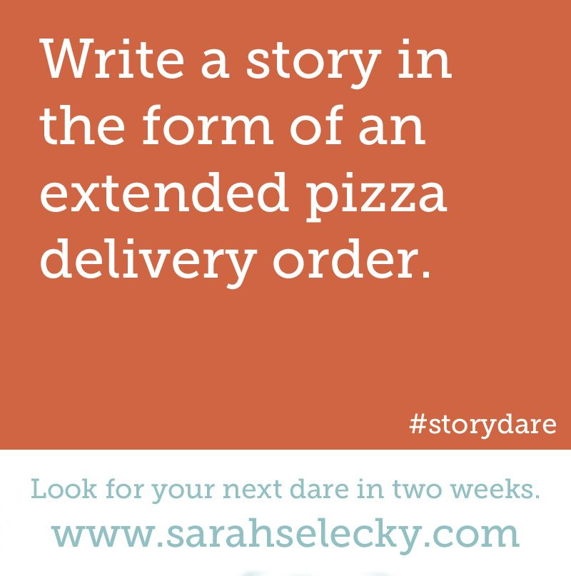 write a story in the form of an extended pizza delivery order - delivery order form