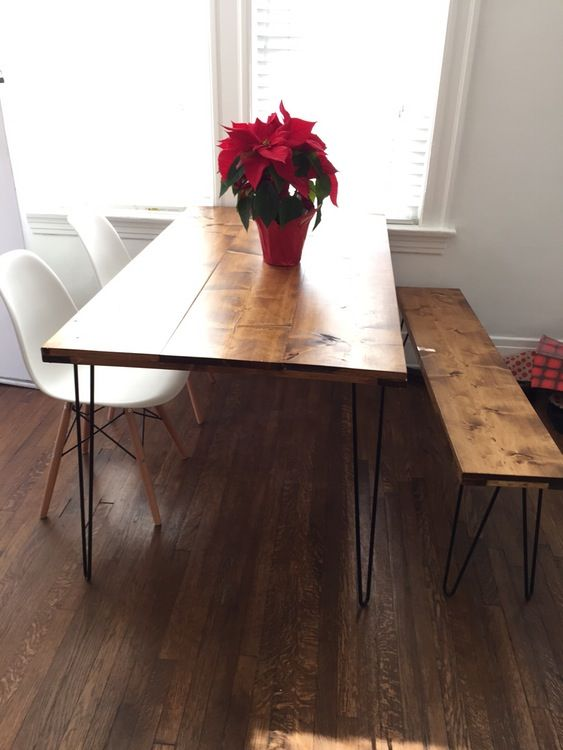DIY Table Hairpin Legs Bench Dining Room