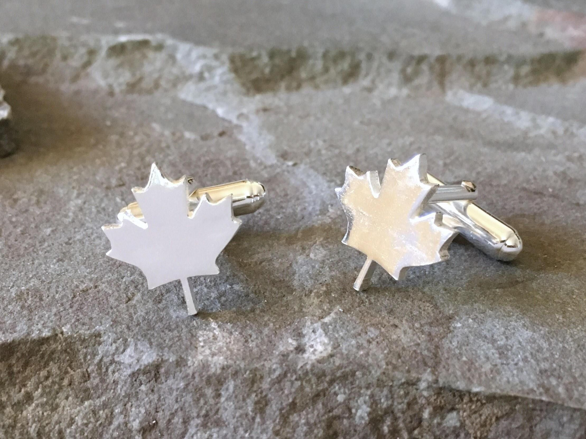 Maple Leaf Cufflinks Sterling Silver