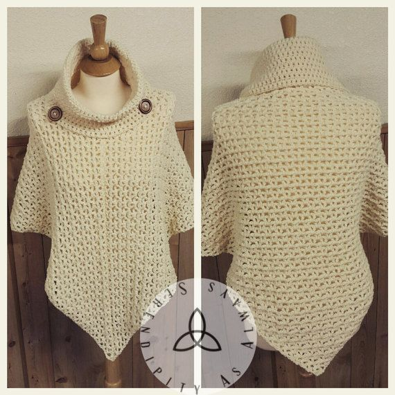 Easy Crochet Pattern Cowl Neck Poncho Womens Poncho Pattern