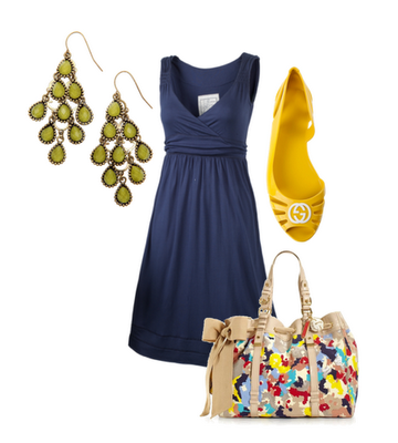 blue dress, yellow heels, chandelier earrings. Oh how I love this outfit. LOVE.