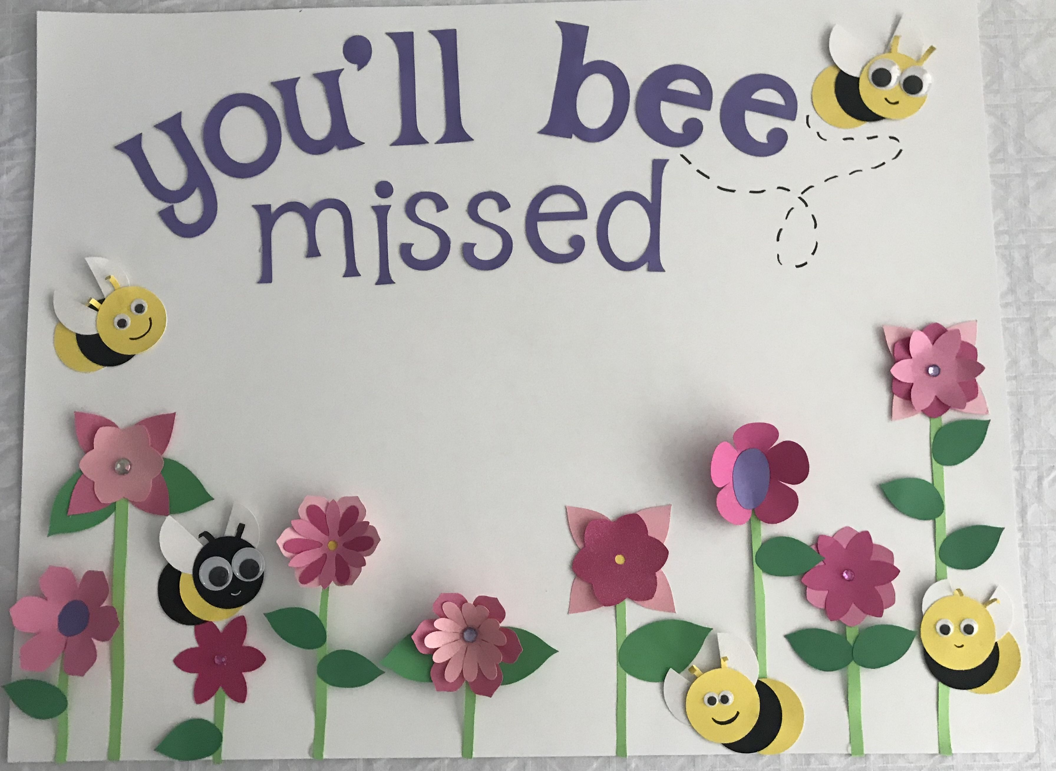 You Ll Bee Missed Card Bee Cards Farewell Cards Farewell Cards Handmade
