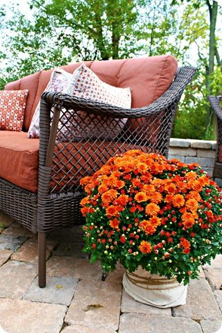 Thrifty Decor Chick: A pumpkin wreath (on the patio) what I love is wrapping the plastic planter that the mums come in in a burlap fabrics, and wrap that with twine!