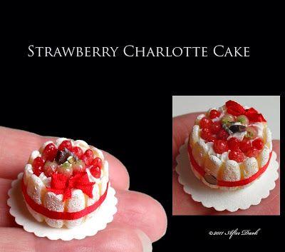 ••  Después Miniaturas oscuros: febrero 2011.STRAWBERRY CHARLOTTE CAKE