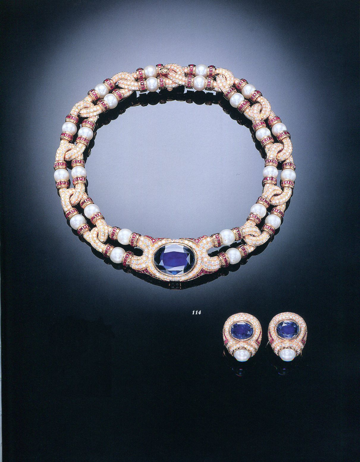 A Suite Of Sapphire, Ruby And Cultured Pearl Jewellery,by Bulgari