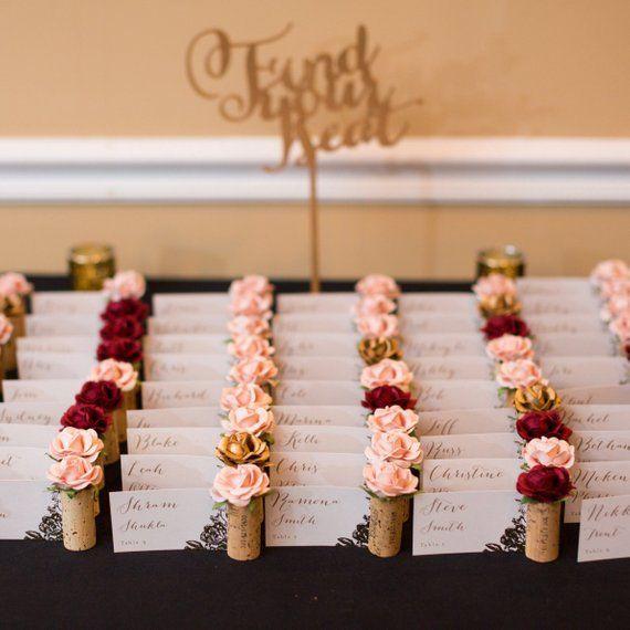Wine Cork Wedding Decorations: Wine Cork Place Card Holder. Winery Wedding Decor. Seating