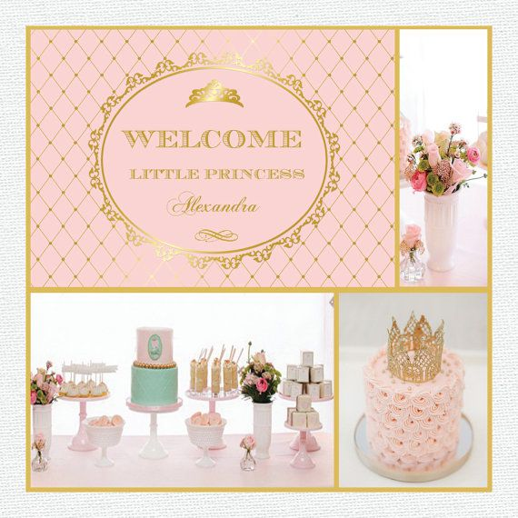 pink and gold princess, crown, baby shower, 1st birthday ...