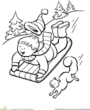 Winter Sledding Coloring Page  Winter Child and Christmas fun