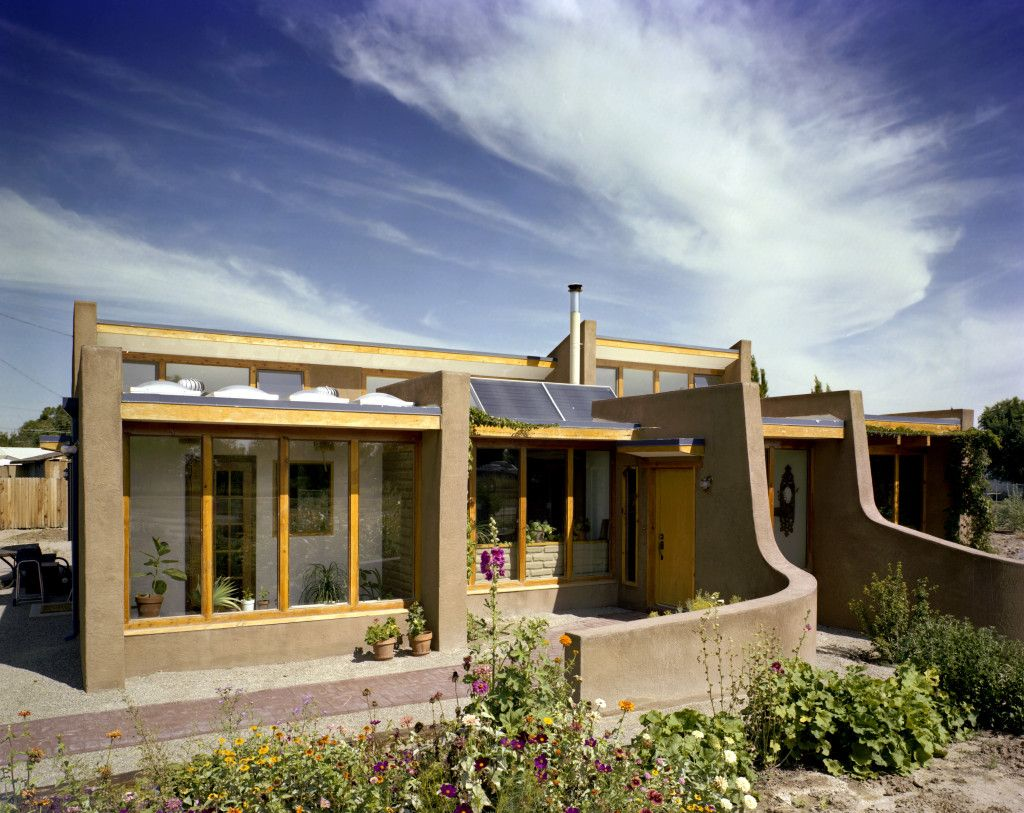 Scheibner Exterior Passive Solar Design Curved Adobe Walls Trombe Wall  Solar Thermal Clerestory Window
