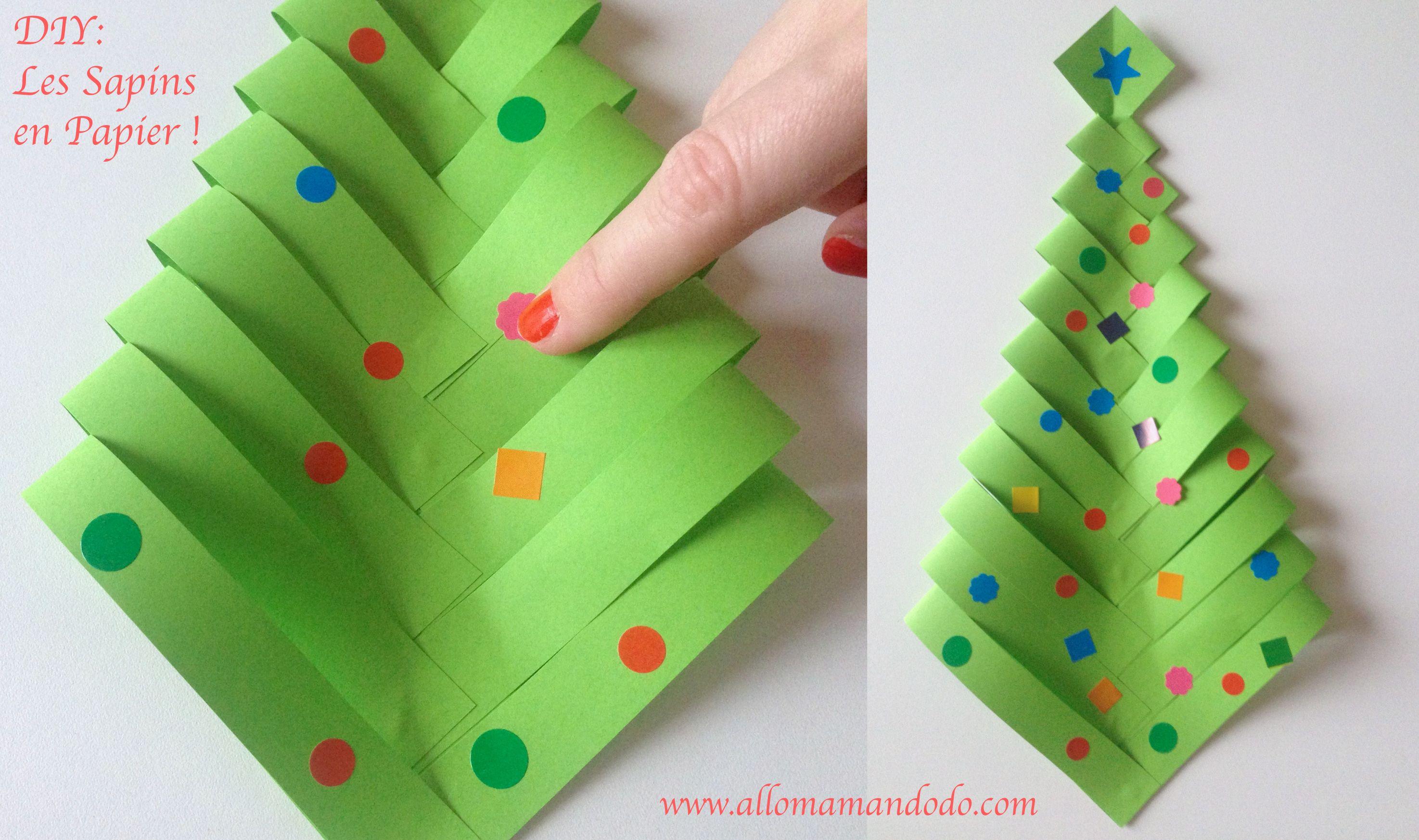 Fabrique des Sapins de Noël en papier (DIY facile et